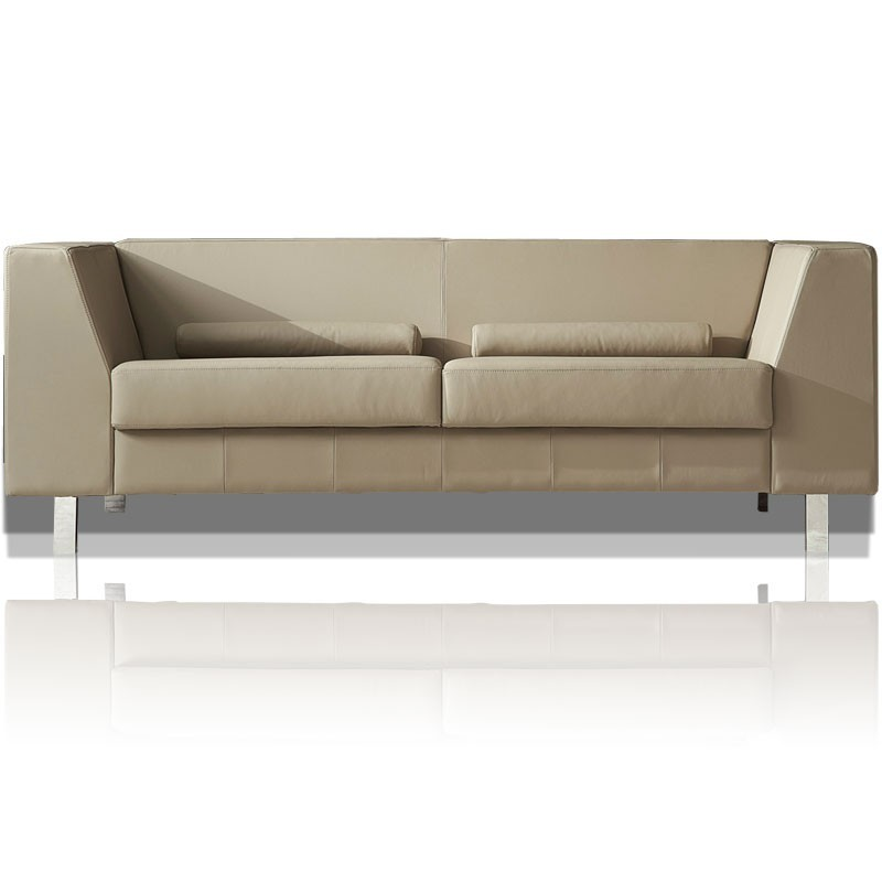 Canape cuir 3 places taupe sapa mister canap - Cuir canape craquele ...