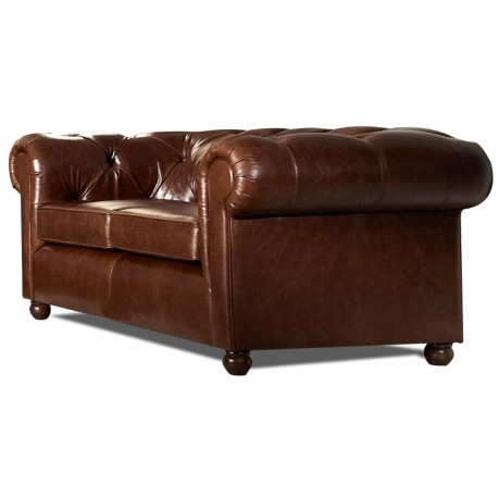 Canap chesterfield cuir vieilli mister canape - Chesterfield 2 places cuir ...