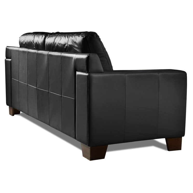 Canape cuir noir 2 places vitoria mister canap - Cuir center canape 2 places ...
