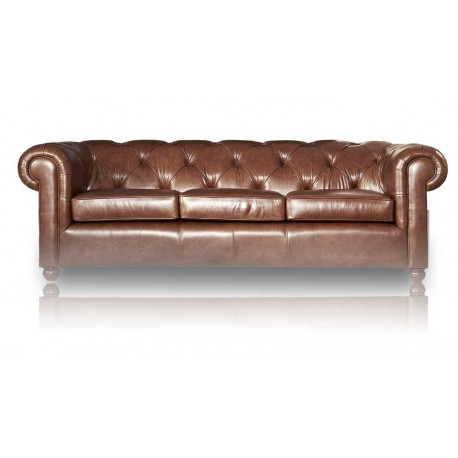 "Canapé Chesterfield cuir 3 places, Diamantiono ""CUIR VIEILLI"""
