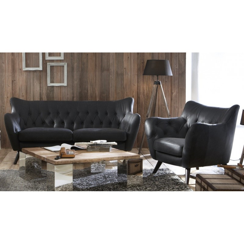 Canape cuir vintage noir 2 places mister canap for Canapes cuir