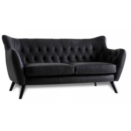 canape cuir vintage noir 3 places mister canap. Black Bedroom Furniture Sets. Home Design Ideas